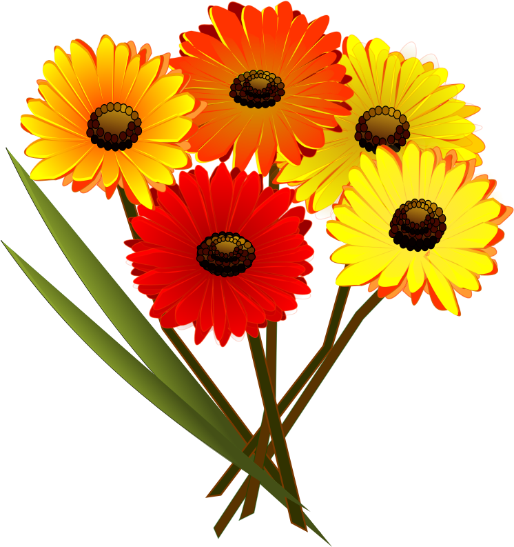 Daisies clipart flores. Bunch of flowers medium