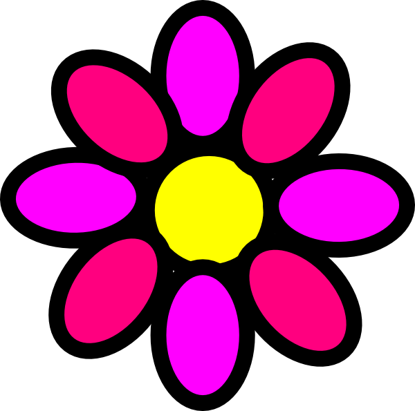 Flower power clip art. Number 3 clipart girly