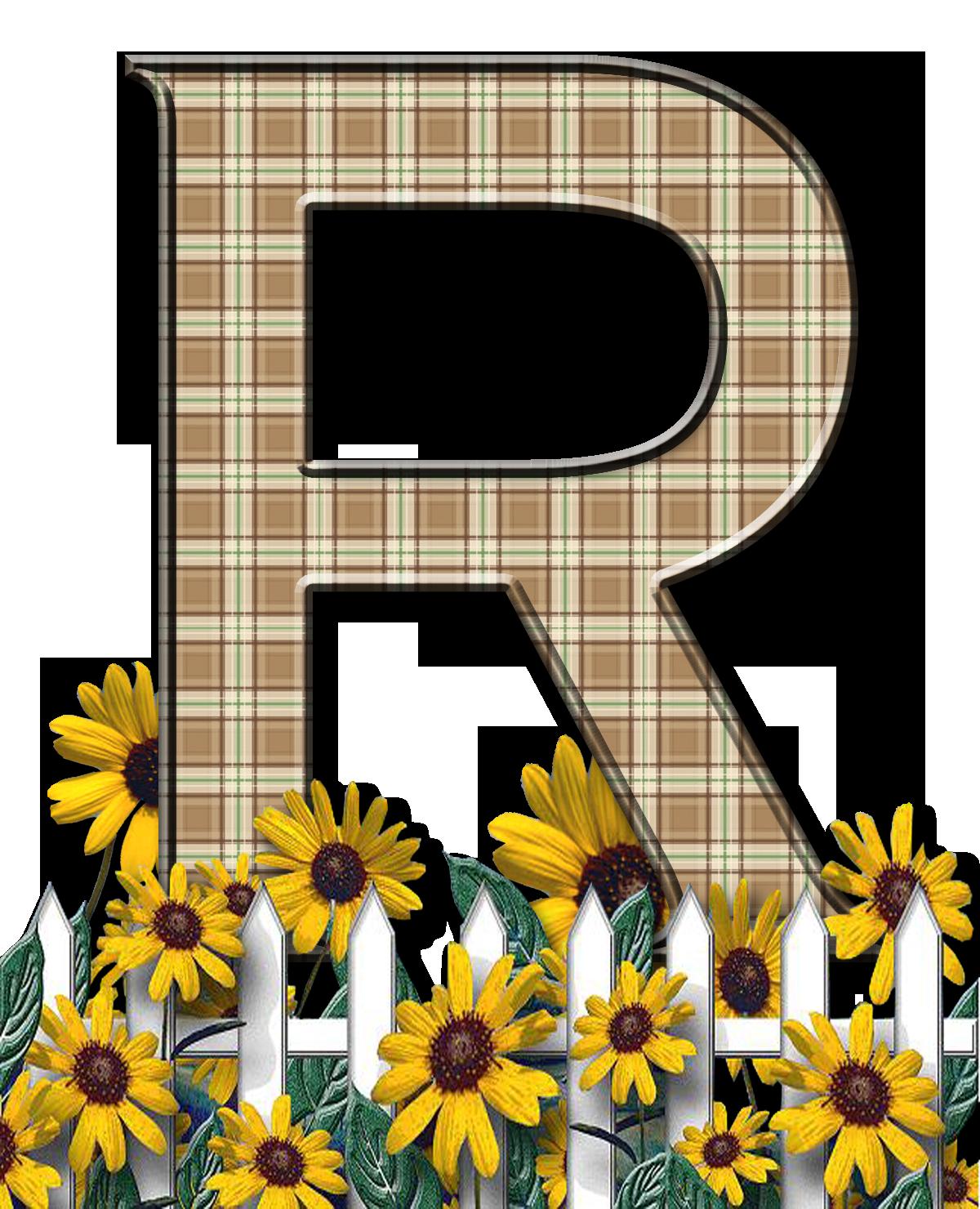 R clipart initial. Letra con verja floral