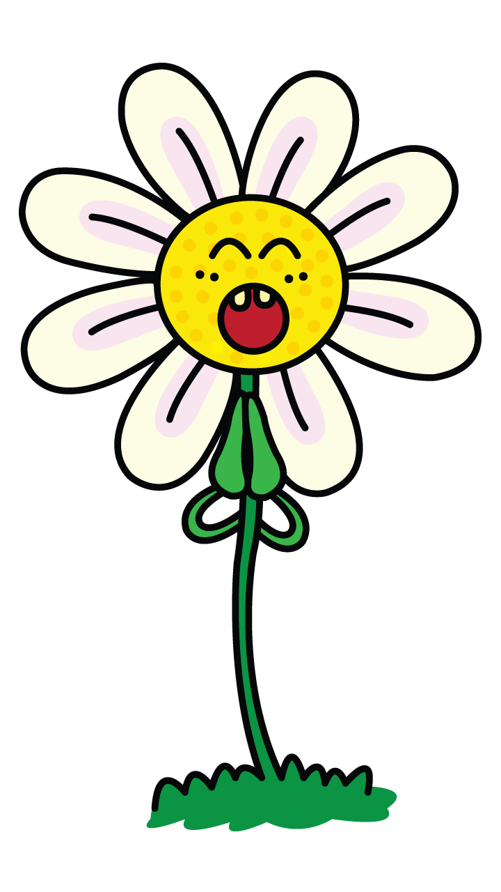 Learn how to draw. Daisies clipart smiley
