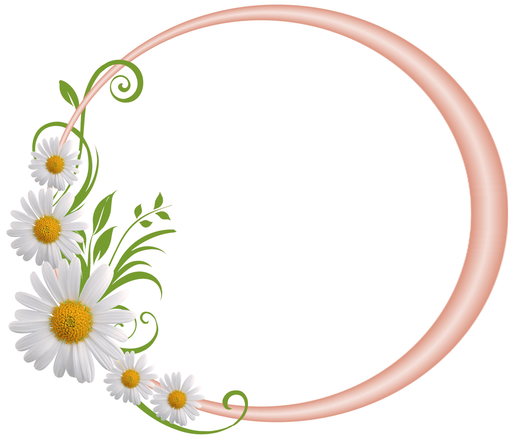 Daisies clipart smiley. Cream round frame with