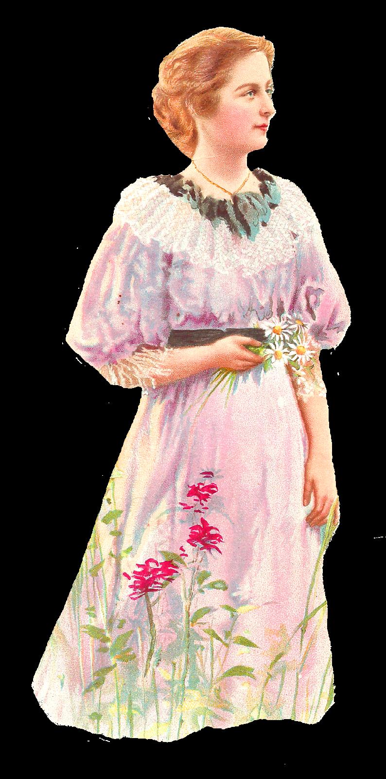 Antique images vintage woman. Daisies clipart spring season