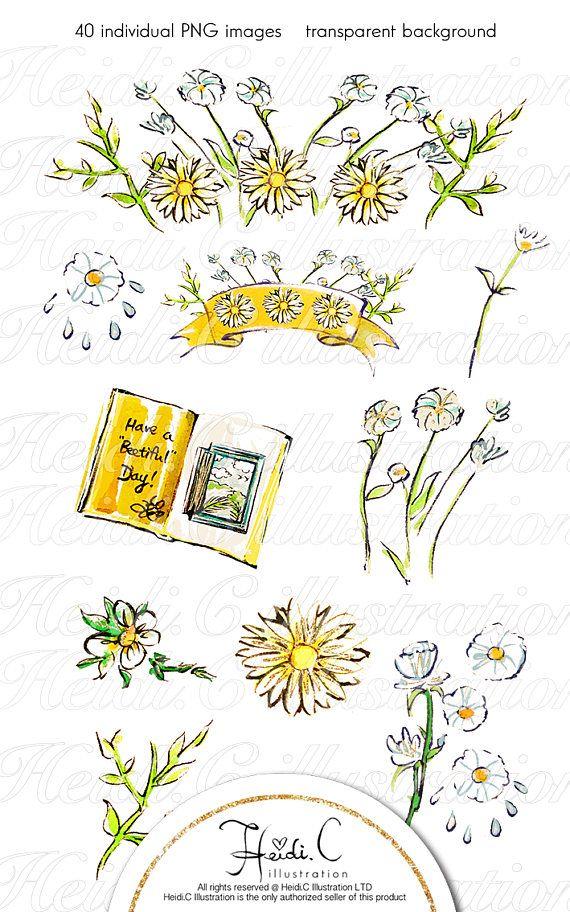 Bee fashion clip art. Daisies clipart summer