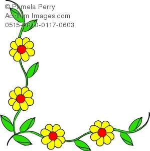 Daisies clipart vine. Clip art illustration of