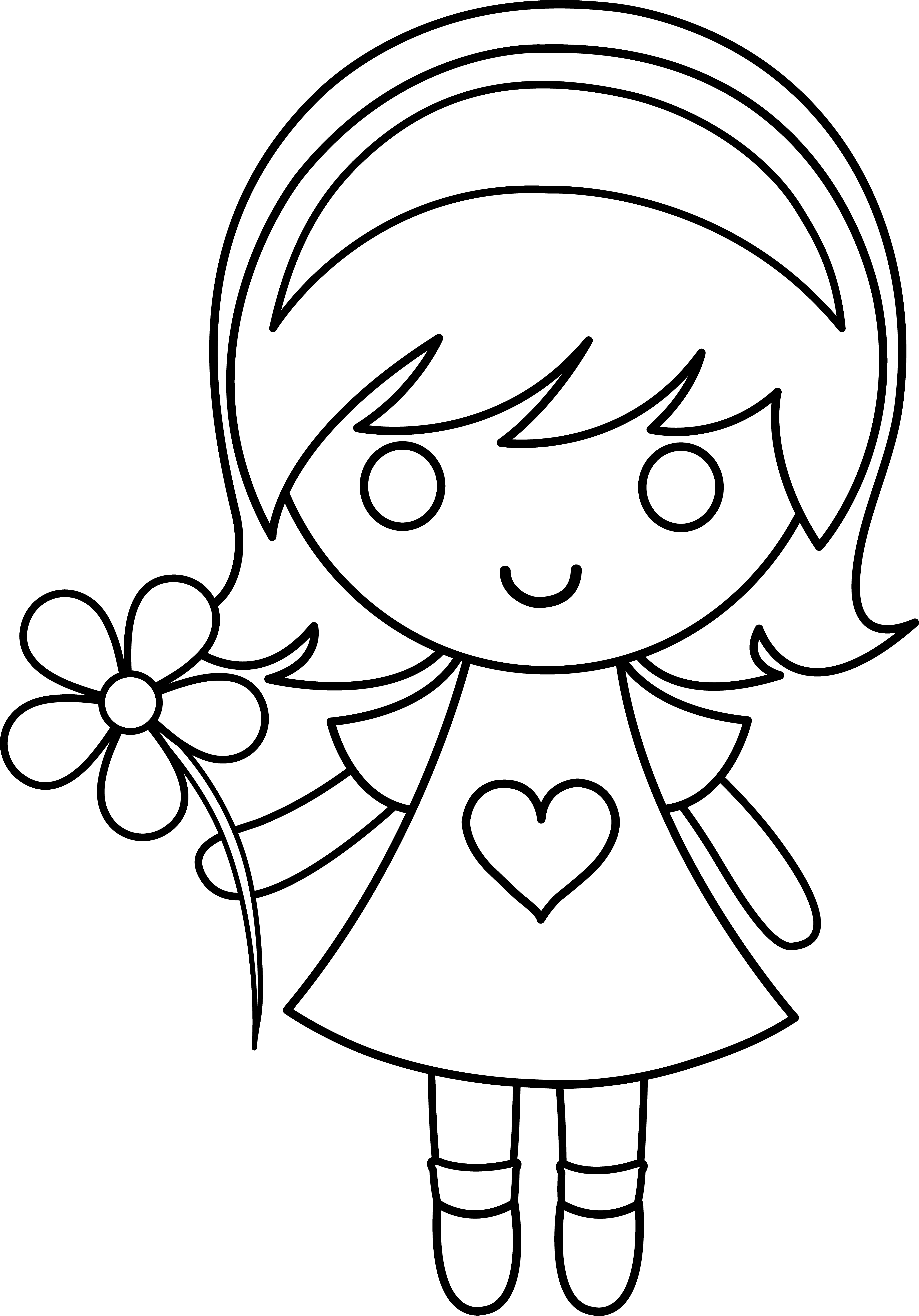 Daisy girl colorable line. Drawing clipart single woman