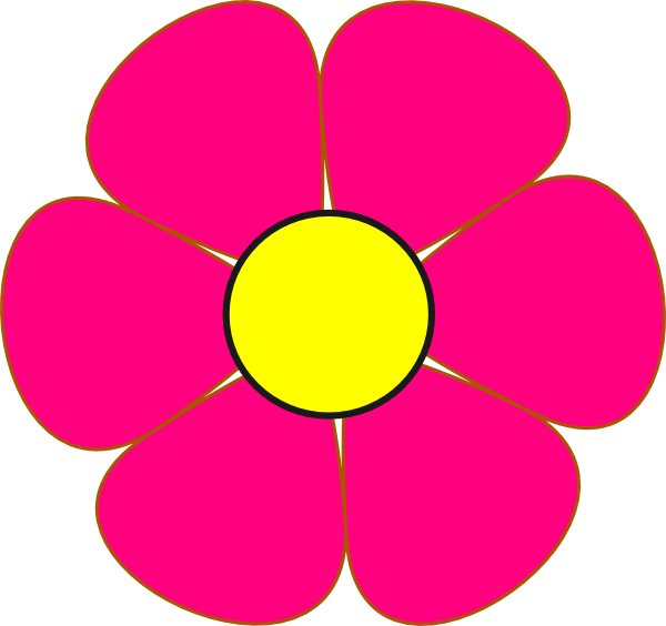 Pink and yellow clip. R clipart flower