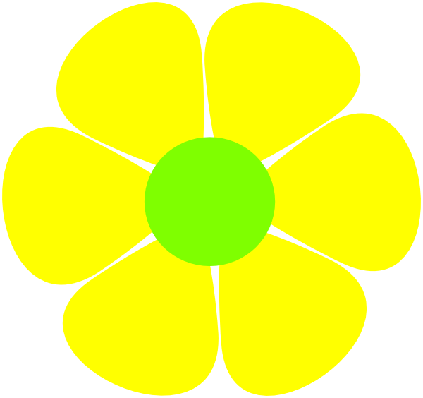 Clip art at clker. Hippie clipart yellow green flower