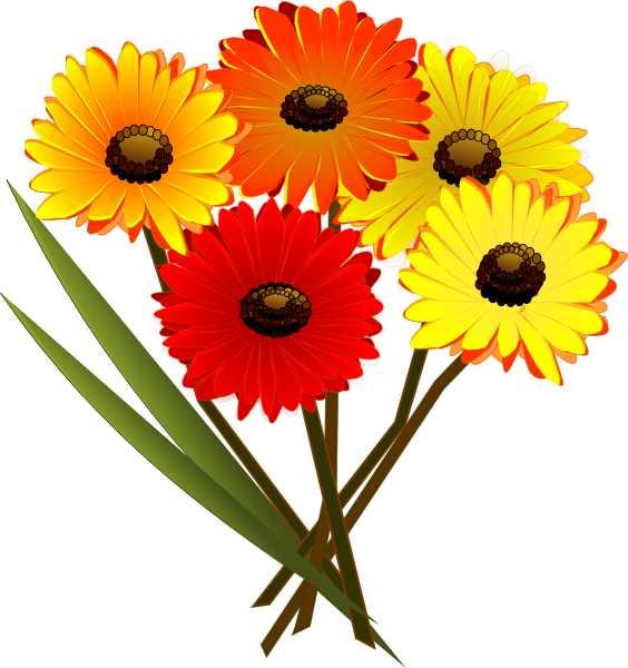 Red orange yellow flowers. Daisy clipart landscape