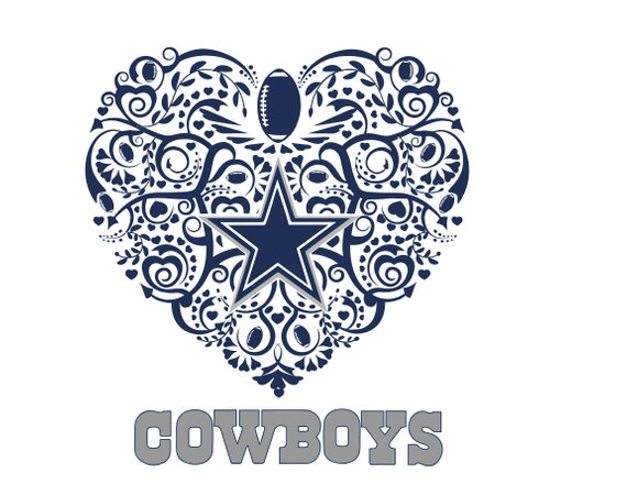 Football svg products . Dallas cowboys clipart heart