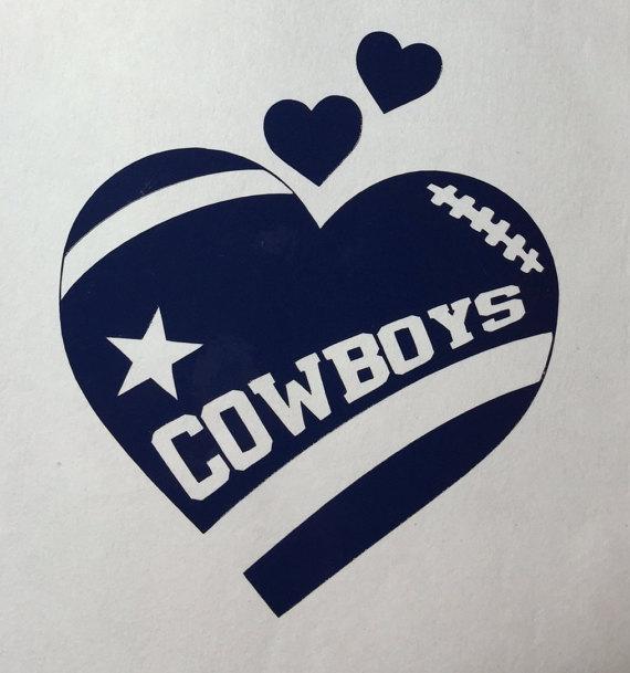 Dallas cowboys clipart heart. Football vinyl decal bumper