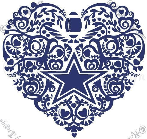 Cowboy football svg dxf. Dallas cowboys clipart heart