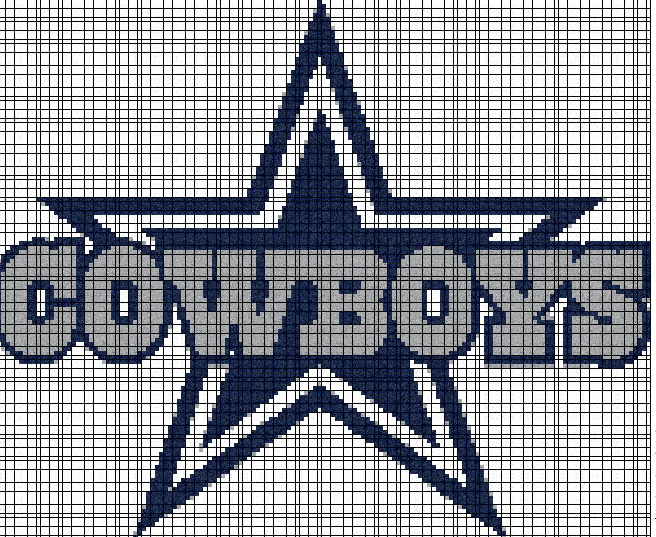Football logo cross stitch. Dallas cowboys clipart pdf
