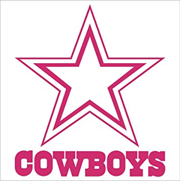 Nfl window sticker decal. Dallas cowboys clipart pink