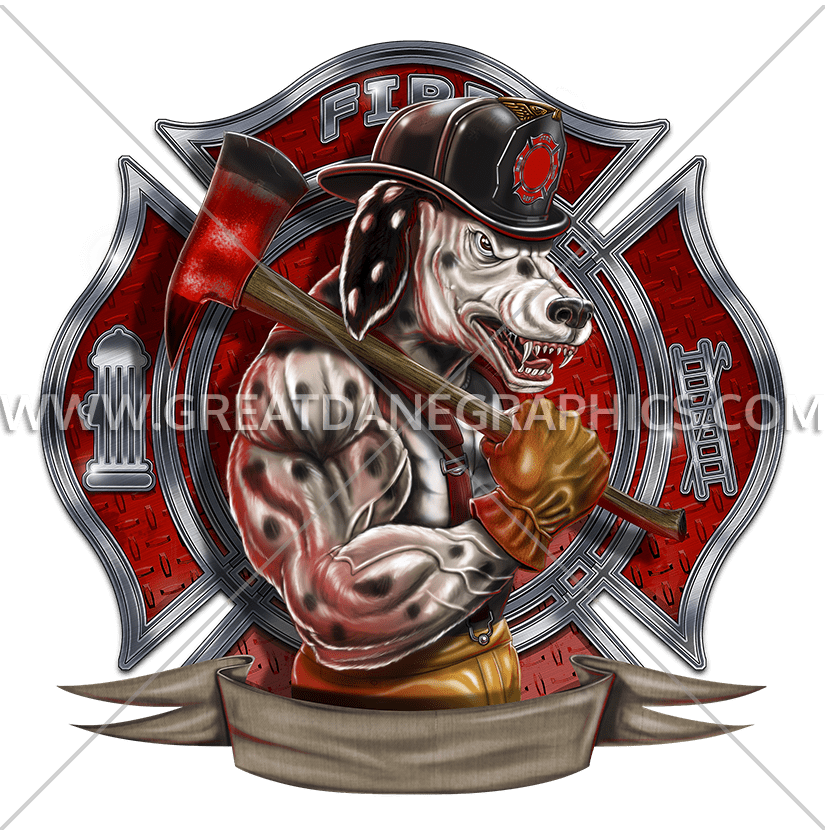 Dalmation production ready artwork. Dalmatian clipart firefighter