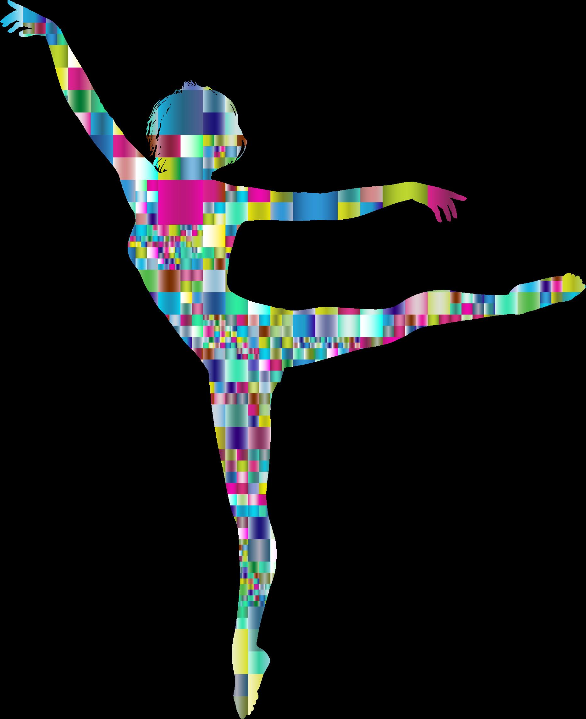 Prismatic mosaic lithe dancing. Dance clipart colorful