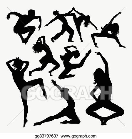 Vector illustration activity silhouette. Dance clipart freestyle dance