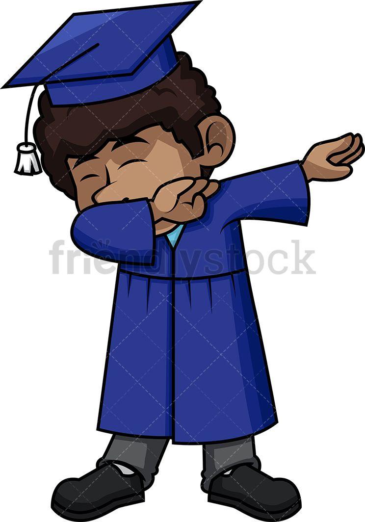Black boy graduate dabbing. Dance clipart graduation