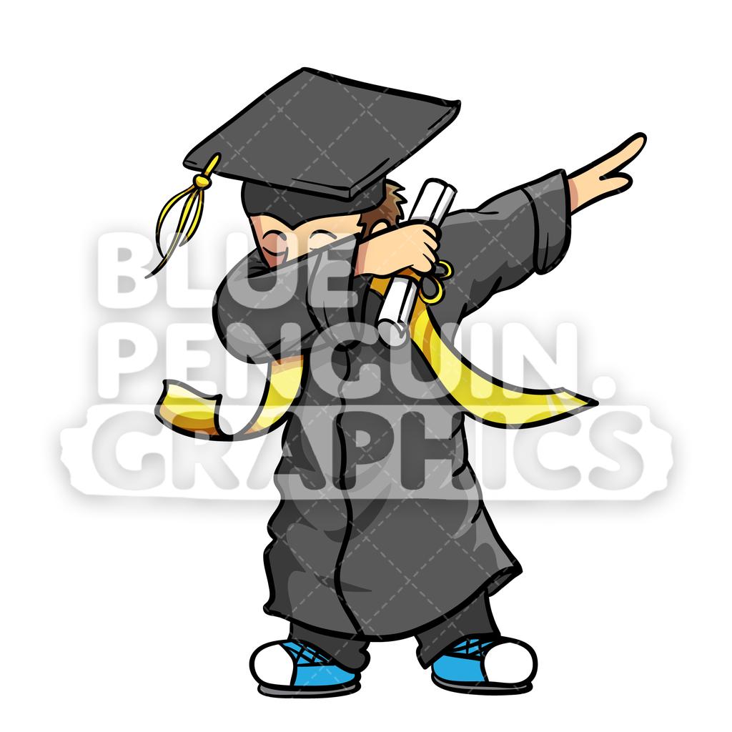 Dance clipart graduation. Graduate dabbing boy vector