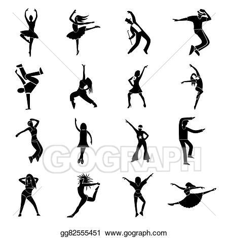 Dance clipart simple dance. Vector dances icons set