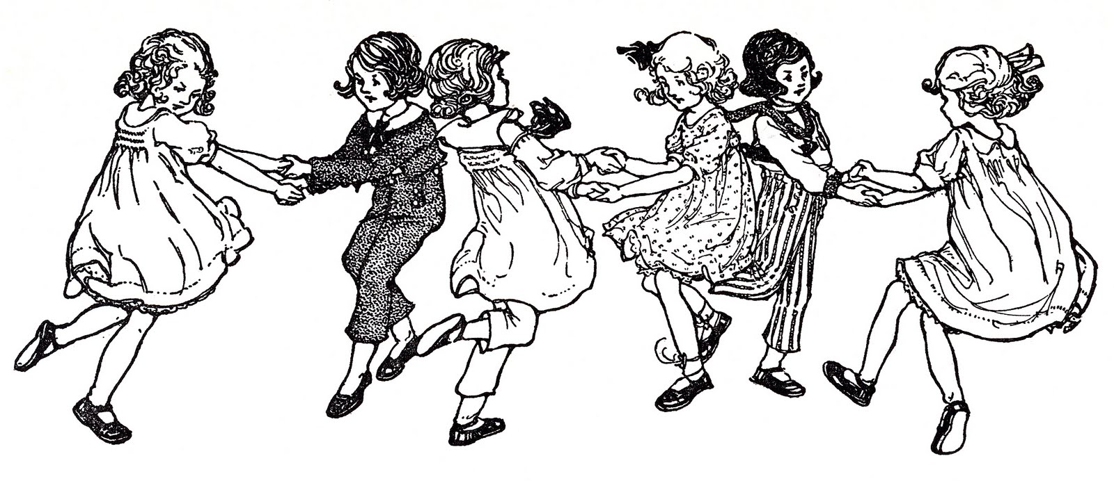 Image children swedish song. Dancing clipart vintage
