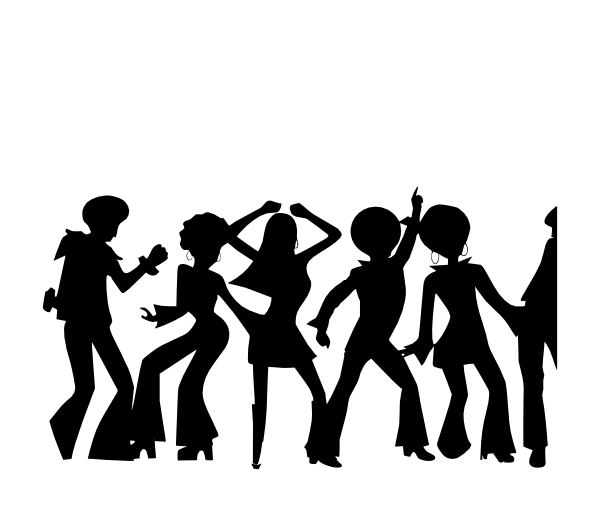 Disco dancers silhouette at. Dance clipart word