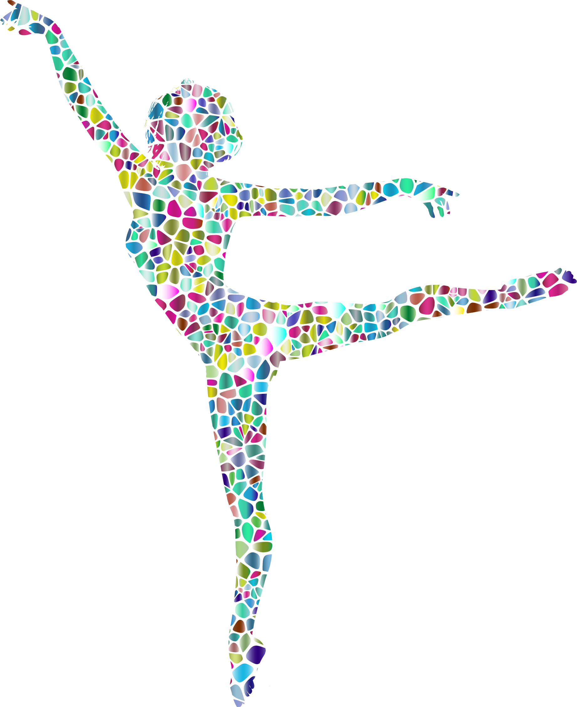 Polychromatic tiled lithe dancing. Dancer clipart abstract