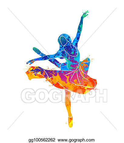 Dancing clipart colorful. Stock illustration girl clip