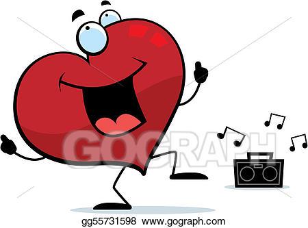 Vector illustration . Dancing clipart heart
