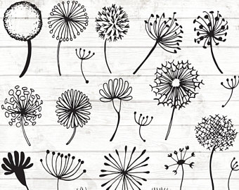 Dandelion clipart. Etsy hand drawn clock