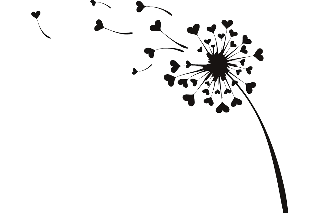 Dandelion hearts vector image. Flying clipart love