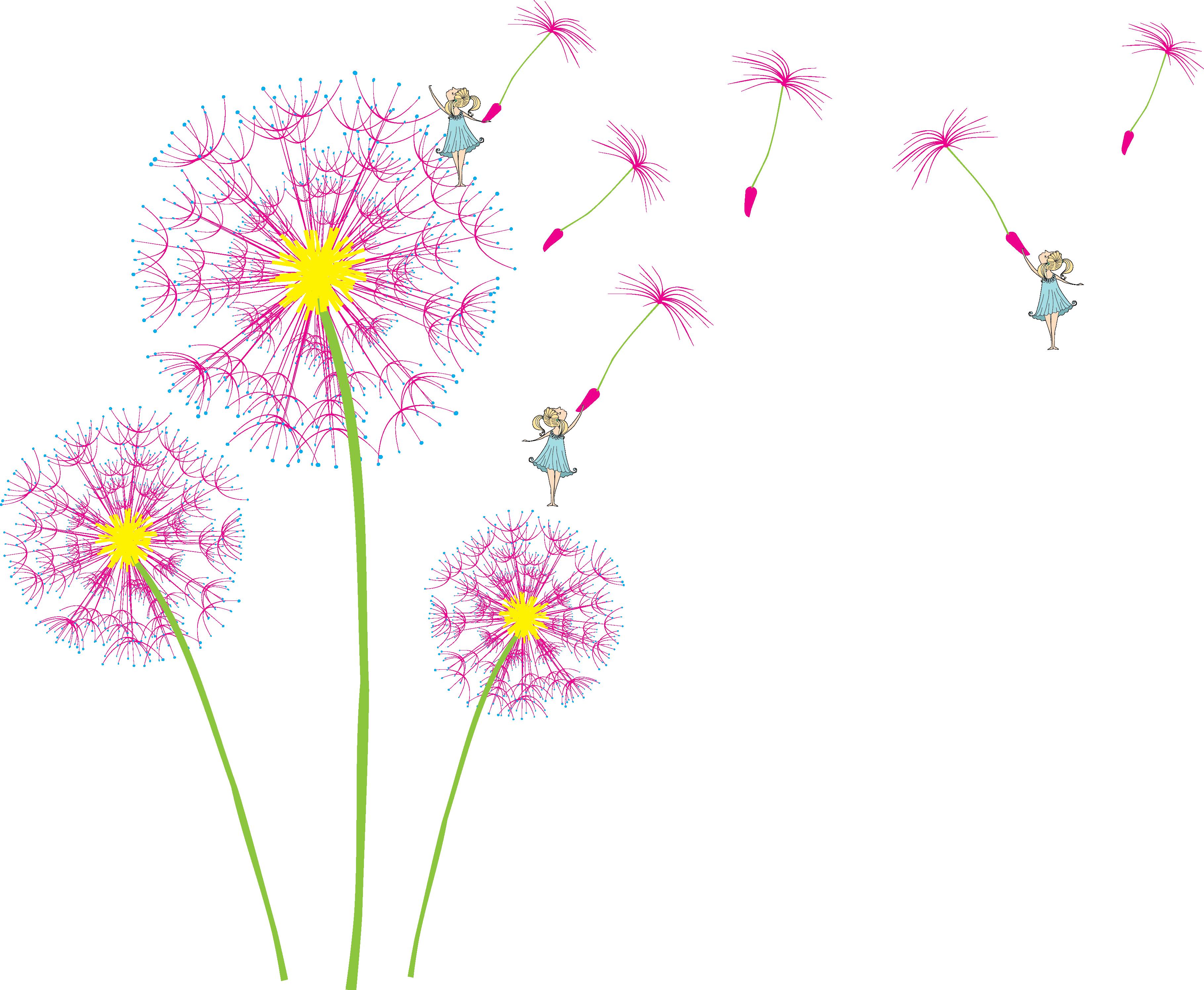 Floral design petal pattern. Dandelion clipart pink dandelion