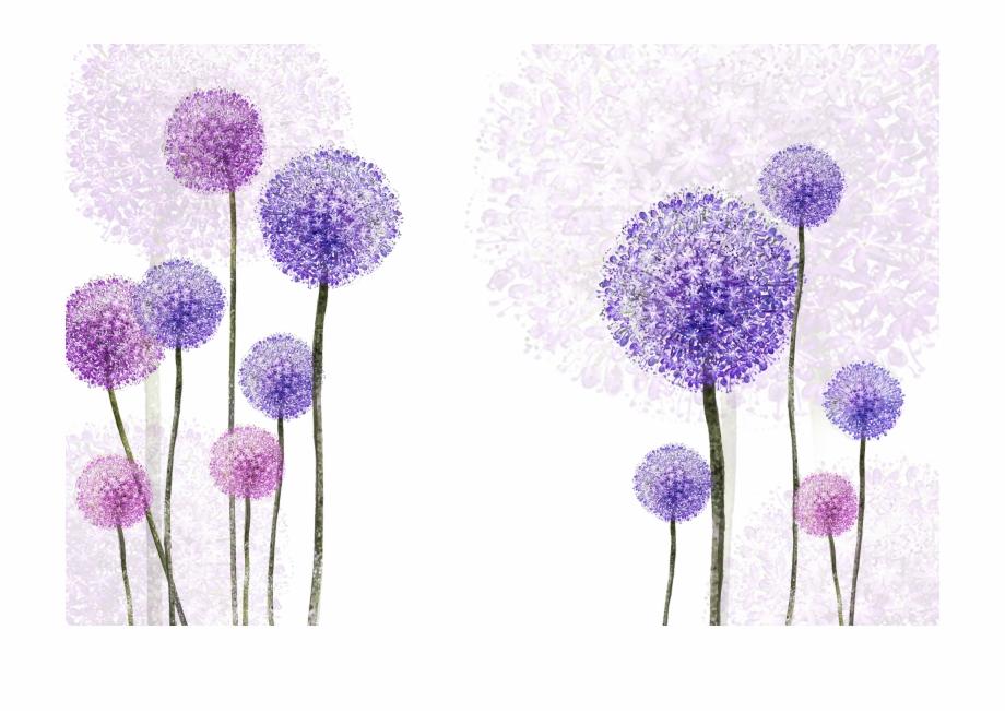 Transparent flowers . Dandelion clipart purple
