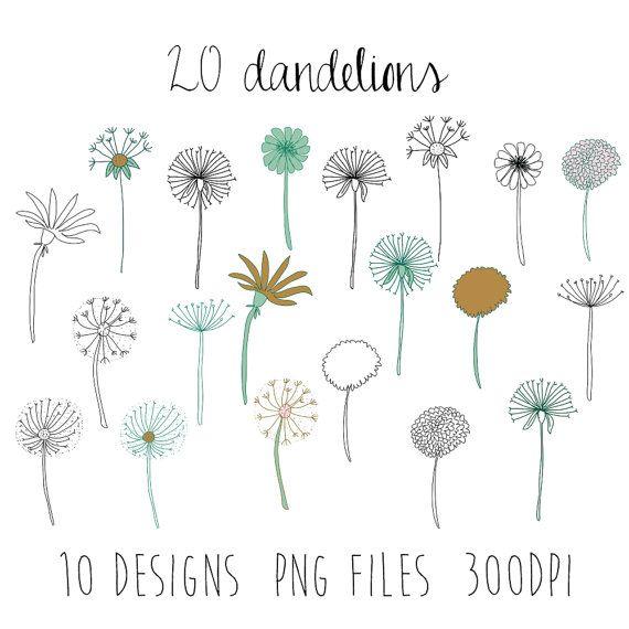 Dandelion clipart simple. Dandelions flower doodle by