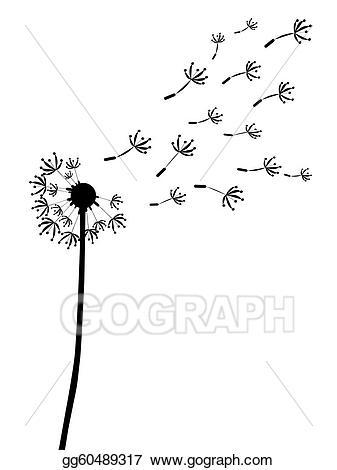 Illustration outline silhouett . Dandelion clipart stock photo