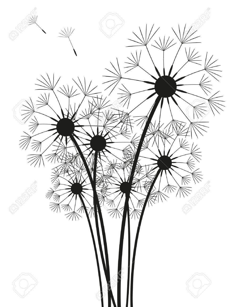 Stock vector tatoo ideas. Dandelion clipart wildflower