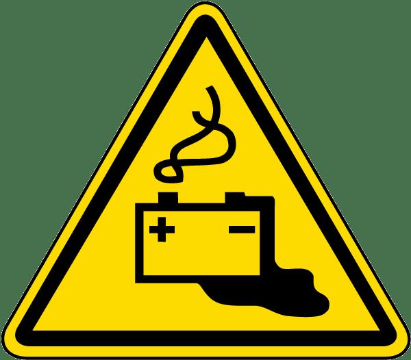 Battery charging warning label. Emergency clipart danger symbol