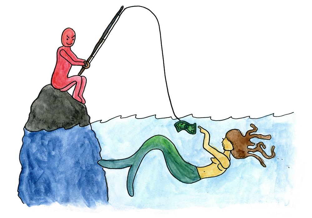 Fisherman clipart caricature. The danger in devotion