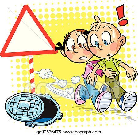 Eps illustration children on. Danger clipart dangerous road