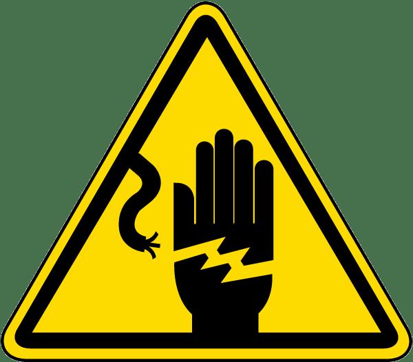 Emergency clipart danger symbol. Electrical shock warning label