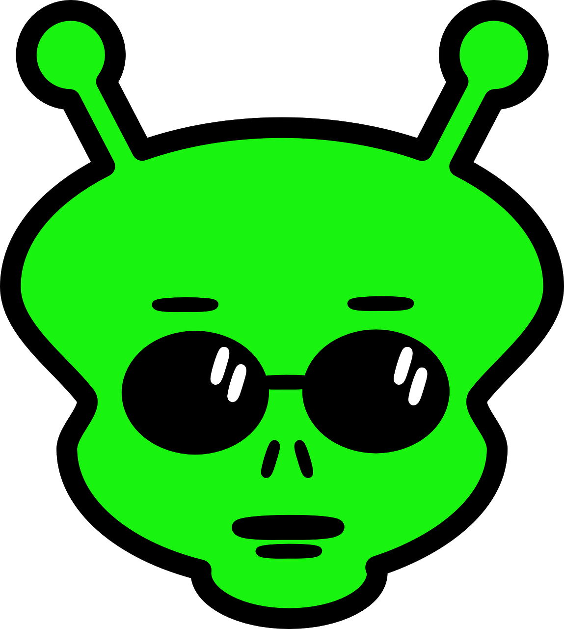 Alien face horns space. Ufo clipart comic