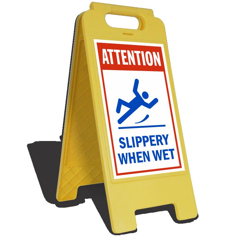 Slippery when signs safety. Danger clipart wet floor