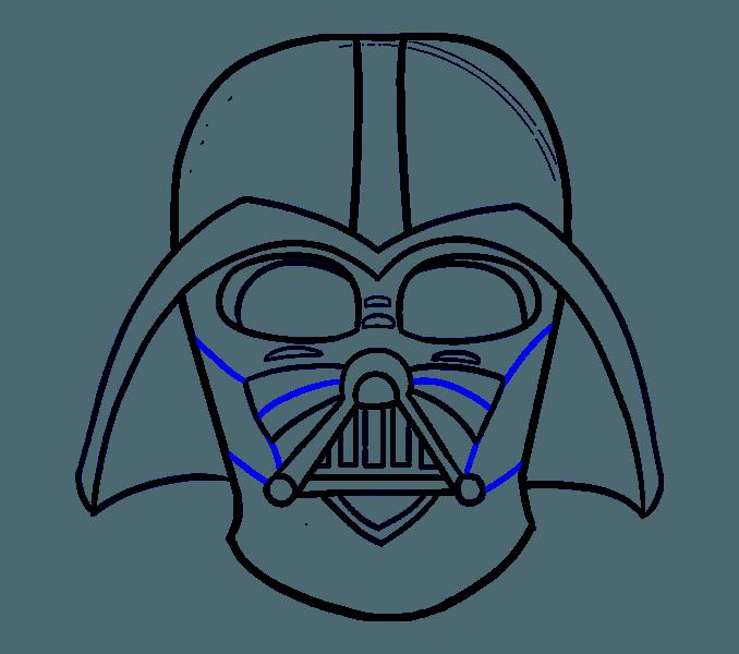 Darth vader clipart line. Helmet drawing at getdrawings