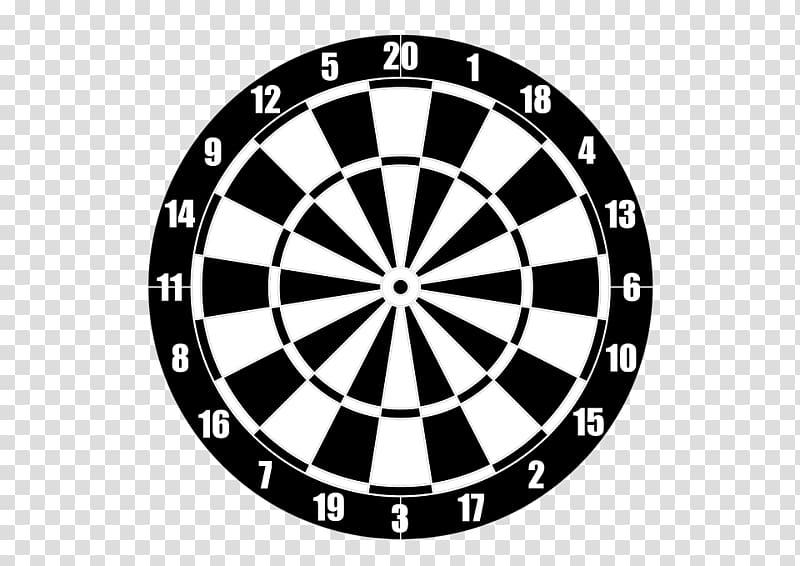 Darts clipart logo. White and black dartboard