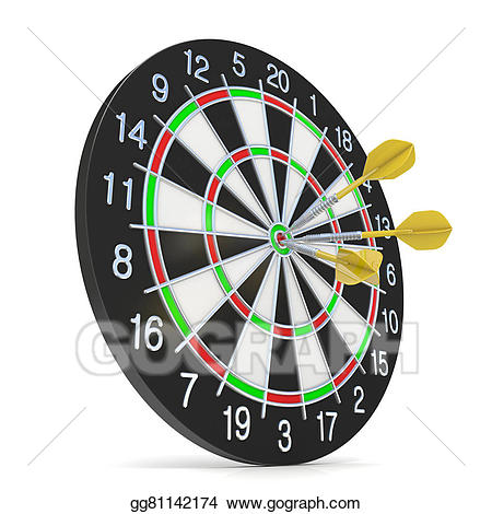 Drawing dartboard with three. Darts clipart