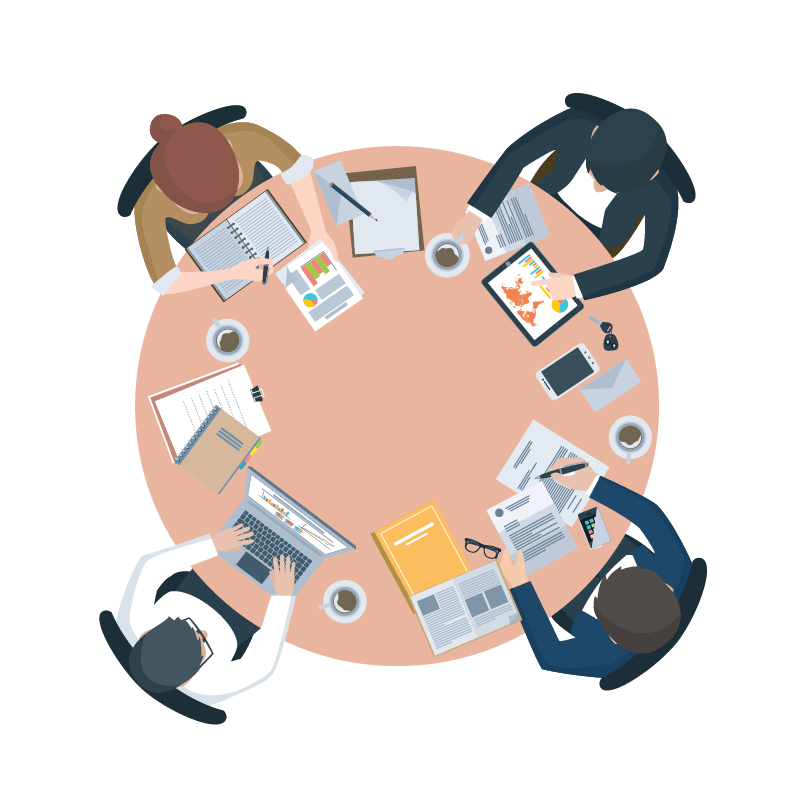 Data clipart data governance. Round table essential tablecp