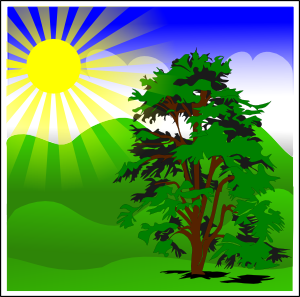 Sunny spring with blue. Day clipart