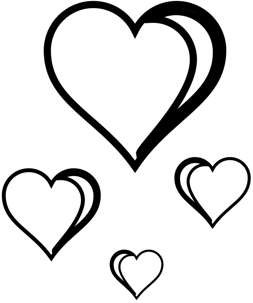 Happy valentines in hearts. Day clipart black and white