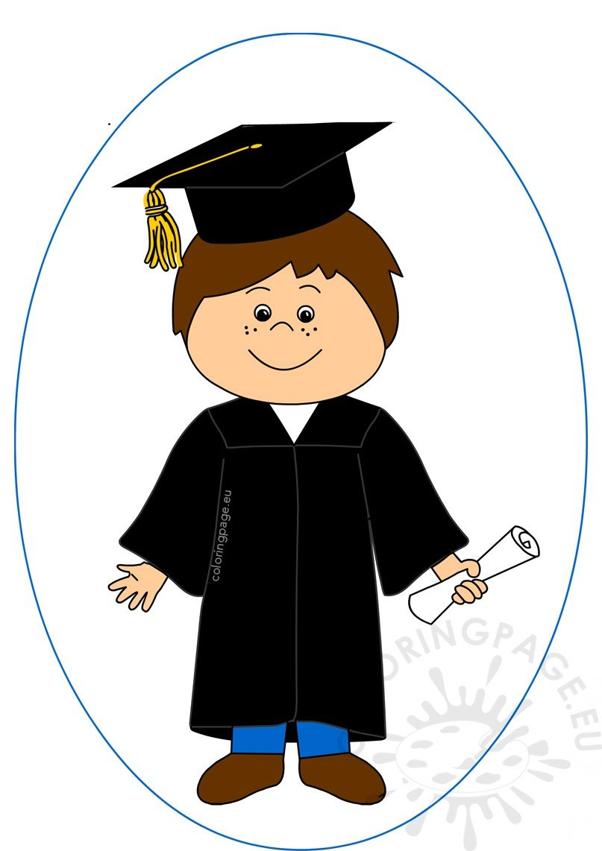 Happy boy celebrating coloring. Graduation clipart graduation day