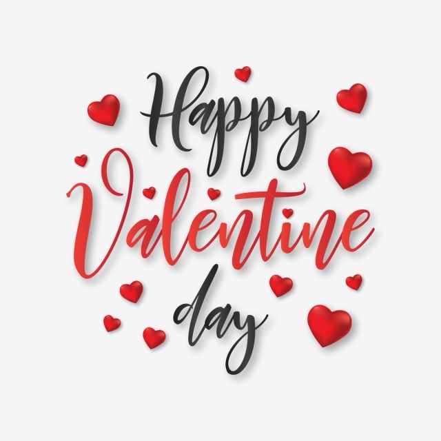 Happy day typography with. Valentine clipart modern