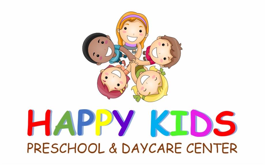 Happy kids preschool center. Daycare clipart cartoon